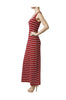 Sleeveless Striped Racer Back Maxi Dress | 30% Off First Order | Burgundy & White