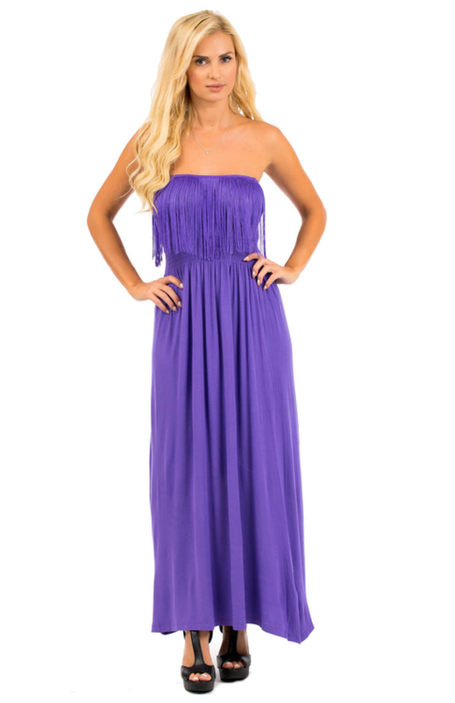 Strapless Maxi Dress W/ Fringe Trimmed Neckline - BodiLove | 30% Off First Order  - 7