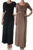 Shortsleeve, Jersey-Knit Maxi Dress | 30% Off First Order | Brown