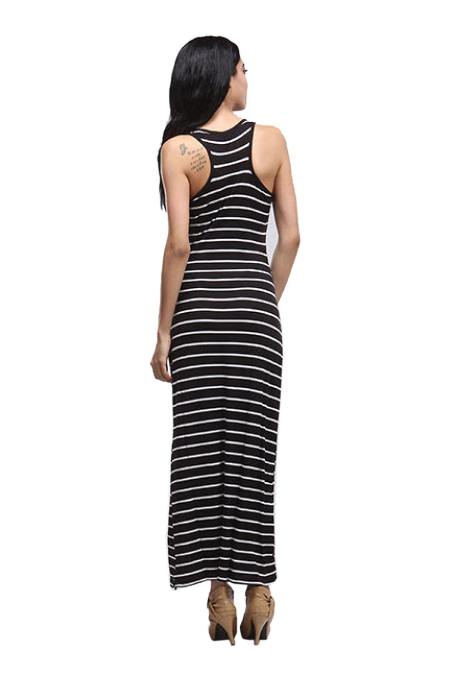 Striped racerback maxi dress