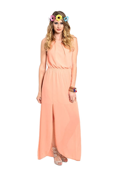 Sleeveless Chiffon Maxi Dress W/ Back Cutout - BodiLove | 30% Off First Order  - 1