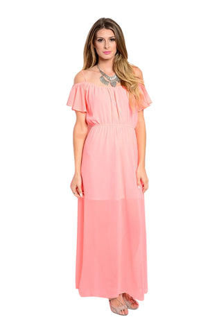 Dressy Ruffle Sleeve Chiffon Maxi Dress