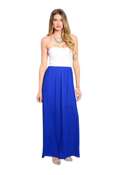 Strapless Color Blocked Maxi Dress - BodiLove | 30% Off First Order  - 1