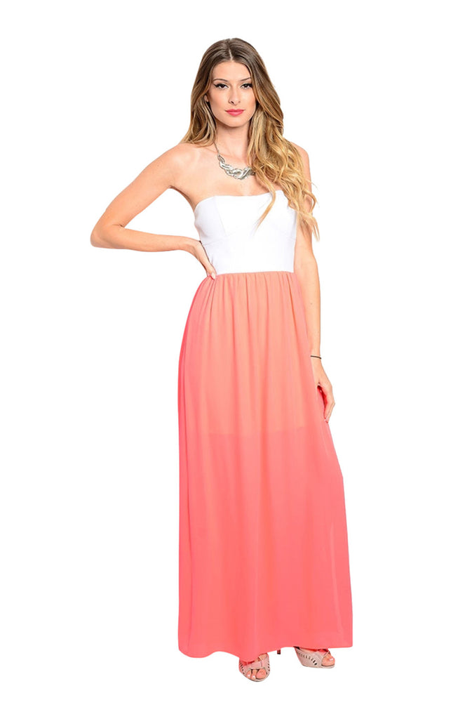 Strapless Color Blocked Maxi Dress - BodiLove | 30% Off First Order  - 3