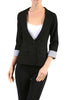 Tailored 3/4 Sleeve Single Button Blazer - BodiLove | 30% Off First Order  - 1