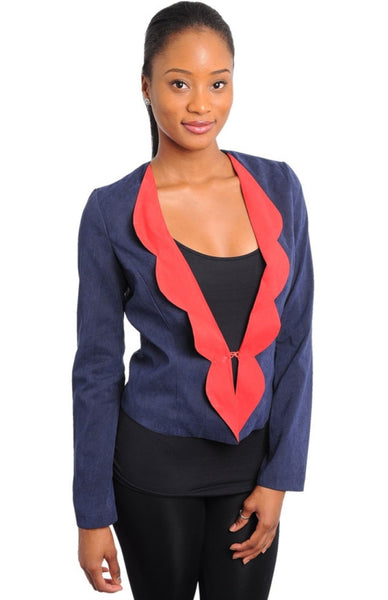 Contrast Scalloped Lapel Blazer - BodiLove | 30% Off First Order  - 1