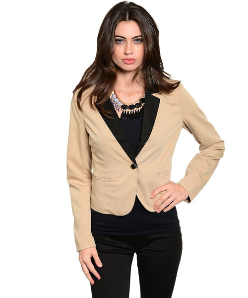 Single Button Blazer W/ Contrast Color Lapel - BodiLove | 30% Off First Order  - 1