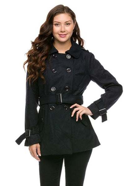 Double Breasted Peacoat W/ Sash Belt - BodiLove | 30% Off First Order - 1
