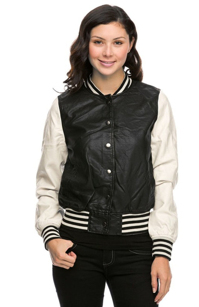 Long Sleeve Vegan Leather Bomber Jacket - BodiLove | 30% Off First Order  - 1