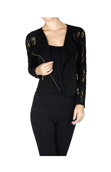 Asymmetric Zip Lace Moto Jacket - BodiLove | 30% Off First Order  - 1