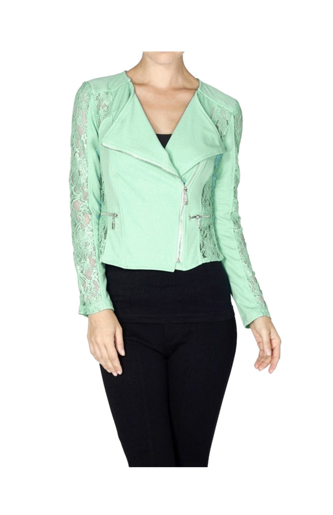 Asymmetric Zip Lace Moto Jacket - BodiLove | 30% Off First Order  - 6