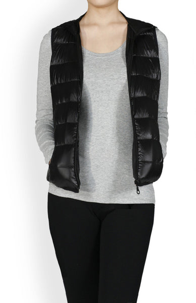 Sleeveless Zip Up Hooded Down Puffy Vest - BodiLove | 30% Off First Order - 1