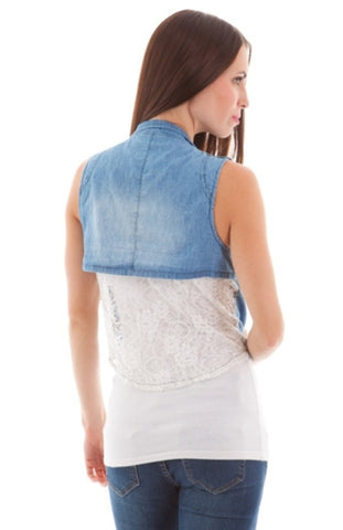 Zip Accent Denim Crop Back Vest