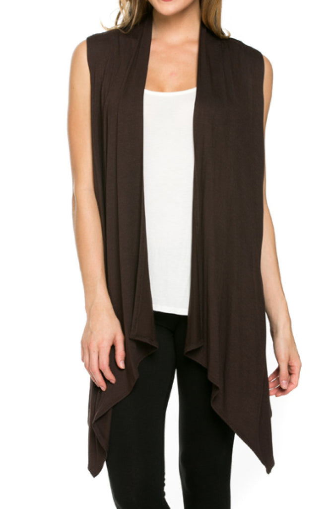 Draped Open Front Jersey Knit Vest - BodiLove | 30% Off First Order  - 12
