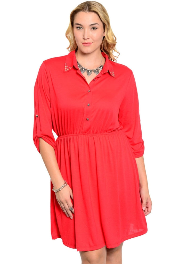 Studded Collar Button Tab Sleeve Shirred Dress - BodiLove | 30% Off First Order  - 7