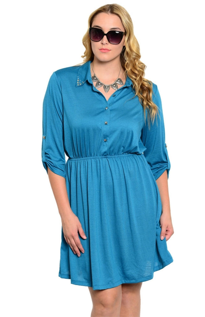 Studded Collar Button Tab Sleeve Shirred Dress - BodiLove | 30% Off First Order  - 9