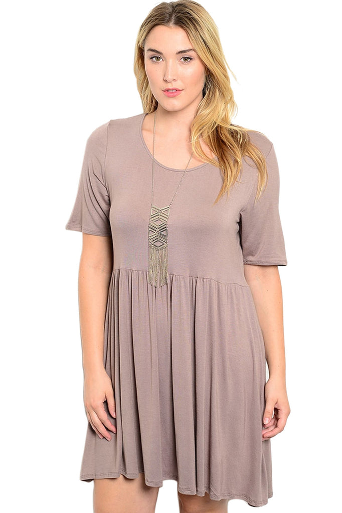 Short Sleeve Jersey Knit A-Line Tunic Dress - BodiLove | 30% Off First Order - 7 | Tan