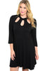 3/4 Sleeve Jersey Knit A-Line Tunic Dress - BodiLove | 30% Off First Order - 3 | Black2