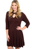 3/4 Sleeve Jersey Knit A-Line Tunic Dress - BodiLove | 30% Off First Order - 7 | Brown