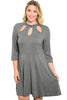 3/4 Sleeve Jersey Knit A-Line Tunic Dress - BodiLove | 30% Off First Order | Dark Gray