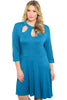 3/4 Sleeve Jersey Knit A-Line Tunic Dress - BodiLove | 30% Off First Order - 11 | Turquoise