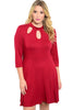 3/4 Sleeve Jersey Knit A-Line Tunic Dress - BodiLove | 30% Off First Order - 5 | Wine1