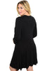 3/4 Sleeve Jersey Knit A-Line Tunic Dress - BodiLove | 30% Off First Order - 4 | Black2
