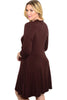 3/4 Sleeve Jersey Knit A-Line Tunic Dress - BodiLove | 30% Off First Order - 8 | Brown