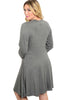 3/4 Sleeve Jersey Knit A-Line Tunic Dress - BodiLove | 30% Off First Order - 2 | Dark Gray