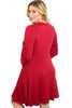 3/4 Sleeve Jersey Knit A-Line Tunic Dress - BodiLove | 30% Off First Order - 6 | Wine1
