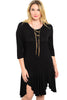 3/4 Sleeve Hi-Low Knit Tunic Dress - BodiLove | 30% Off First Order - 7 | Black1