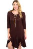 3/4 Sleeve Hi-Low Knit Tunic Dress - BodiLove | 30% Off First Order - 5 | Brown