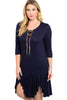 3/4 Sleeve Hi-Low Knit Tunic Dress - BodiLove | 30% Off First Order | Navy