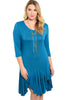 3/4 Sleeve Hi-Low Knit Tunic Dress - BodiLove | 30% Off First Order - 3 | Teal