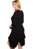 3/4 Sleeve Hi-Low Knit Tunic Dress - BodiLove | 30% Off First Order - 8 | Black1