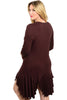 3/4 Sleeve Hi-Low Knit Tunic Dress - BodiLove | 30% Off First Order - 6 | Brown