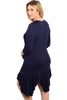 3/4 Sleeve Hi-Low Knit Tunic Dress - BodiLove | 30% Off First Order - 2 | Navy