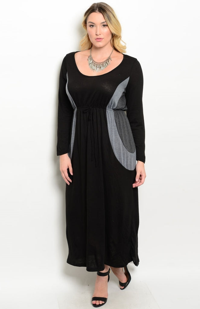 Plus Size Maxi Dress with Drawstring Waist | 30% Off First Order | Black