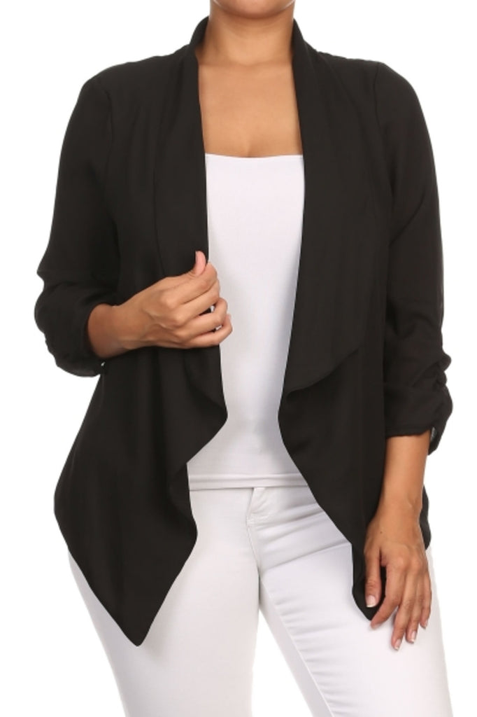 Draped 3/4 Sleeve Open Front Blazer - BodiLove | 30% Off First Order  - 1