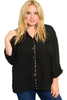 3/4 Sleeve Button Down Chiffon Blouse - BodiLove | 30% Off First Order | Black1