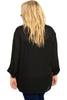 3/4 Sleeve Button Down Chiffon Blouse - BodiLove | 30% Off First Order - 2 | Black1