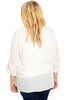 3/4 Sleeve Button Down Chiffon Blouse - BodiLove | 30% Off First Order - 4 | Ivory