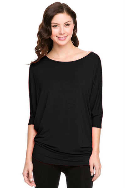 3/4 Batwing Dolman Sleeve Tunic - BodiLove | 30% Off First Order - 1|Black