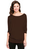 3/4 Batwing Dolman Sleeve Tunic - BodiLove | 30% Off First Order - 4 | Brown
