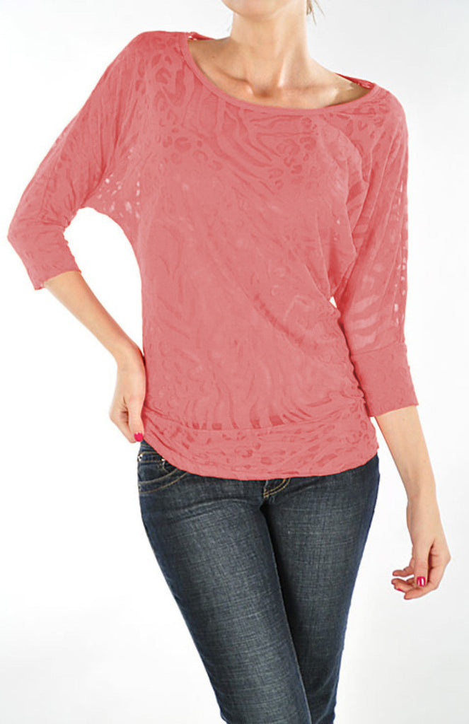 Burnout 3/4 Dolman Sleeve Top - BodiLove | 30% Off First Order  - 22