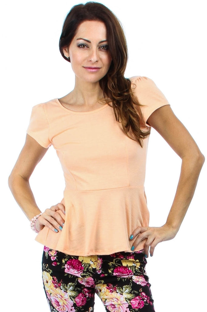 Plus Size Square Neck Peplum Cap Sleeve Blouse | 30% Off First Order | Peach