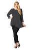 Asymmetrical Hem Button Front Tunic Top | 30% Off First Order | Charcoal