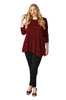 Asymmetrical Hem Button Front Tunic Top | 30% Off First Order | Burgundy