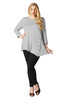 Asymmetrical Hem Button Front Tunic Top | 30% Off First Order | Gray