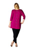 3/4 Sleeve Pocket Front Button Back Tunic Top | 30% Off First Order | Burgundy